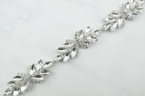 Beaded Leaves Rhinestone Diamante Applique Chain Bridal Belt Wedding Craft