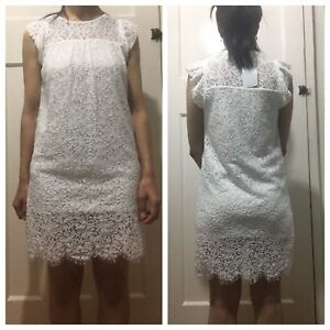 451db4bf1757 Image is loading ZARA-OFF-WHITE-LACE-FRILLED-DRESS-SIZE-M