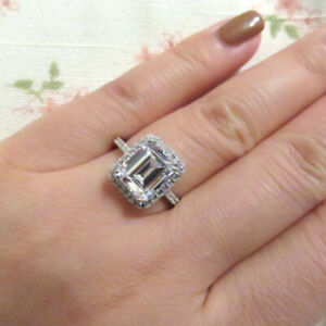 2.50 Ct Emerald Moissanite Engagement Wedding Ring 18K Solid White Gold Size 4 5