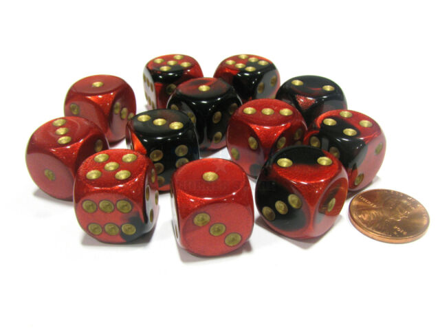 Chessex Black Red with Gold 12 Gemini 16mm Pipped D6 Dice CHX 26633
