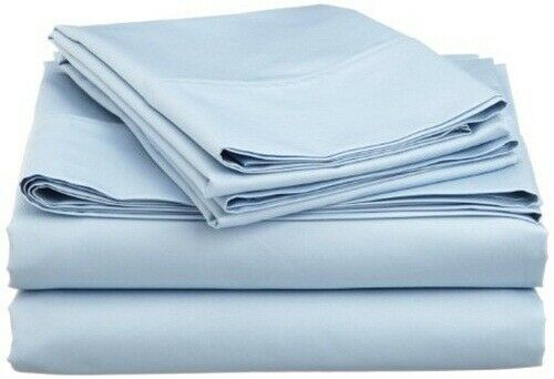 New ( Attached Waterbed ) Sheet Set Pima Cotton 1000 TC Light bluee Solid