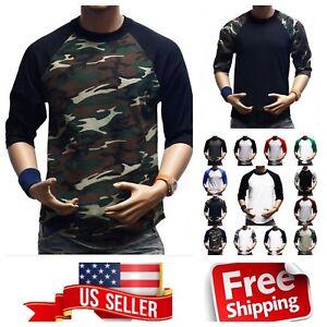 Men 3 4 Sleeve Baseball T- Shirt Raglan Jersey Fashion Casual Hip ... 662b53f91e1f6