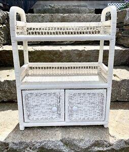 Vintage Mid Century White Wicker Shelf