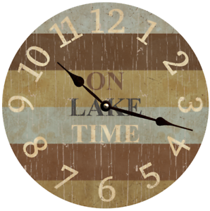 On Lake Time Wall Clock Lake Themed Clock Ebay