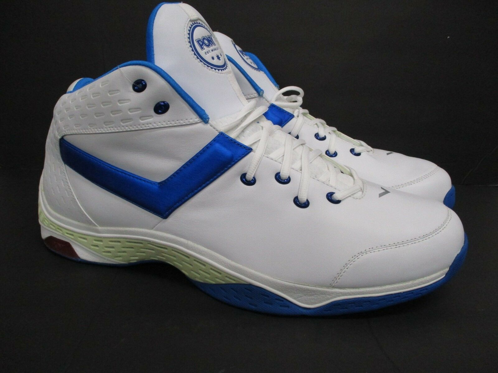 Pony Men's Sneakers shoes EKG High Top White Royal bluee Size  18