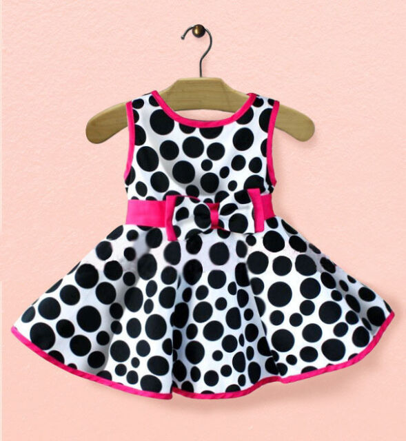 Princess Baby Kids Girls Polka Dot Bow Party One-piees A-Line Gown Dresses 0-5Y