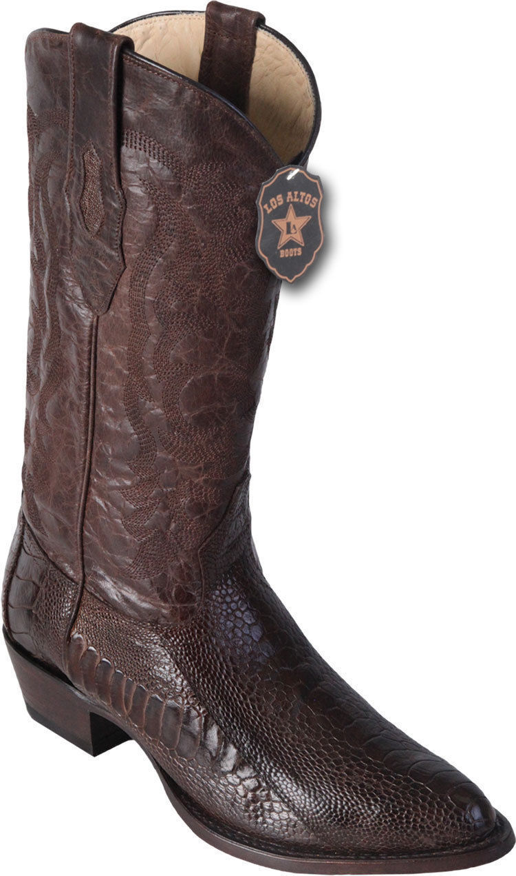 LOS ALTOS MEN R-TOE BROWN GENUINE OSTRICH LEG WESTERN COWBOY BOOT 600507 D