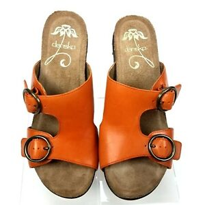 3b21b9160 Image is loading Dansko-Fern-Orange-Leather-Buckle-Wedge-Sandals-Women-