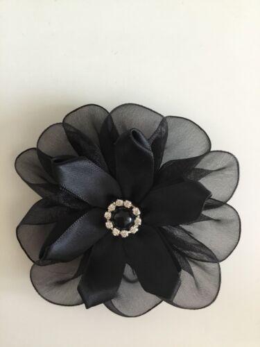 Ladies Black Satin /& Organza Black Flower Hair Clip Fascinator Rhinestone