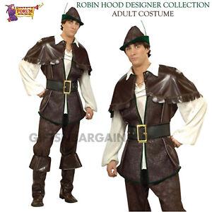 Mens Deluxe Robin Hood Costume Adult Medieval Archer Fancy Dress Book Week
