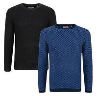 New ESPRIT Mens Crew Neck Jumper Cotton Blend Sweater Blue & Grey Pullover