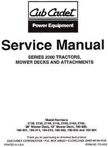 cub cadet 2000 series service manual ebay rh ebay com cub cadet 2000 series service repair manual Cub Cadet Parts and Service