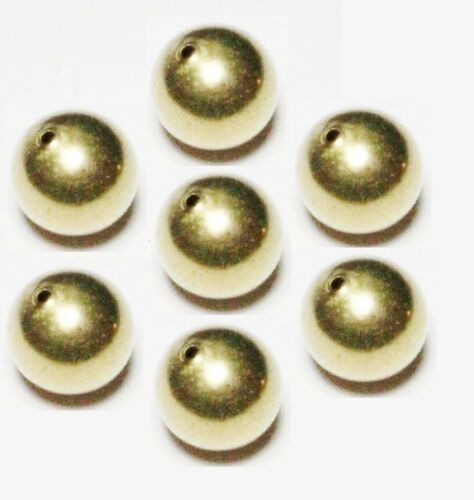 USA 10  Natural 18 MM Solid Brass Round Seamless Hollow Beads Hole 2.0 MM Pkg