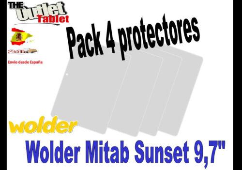 "**Pack 4 Protectores de pantalla para Wolder Mitab Sunset 9,7/"" Universal Alcampo"