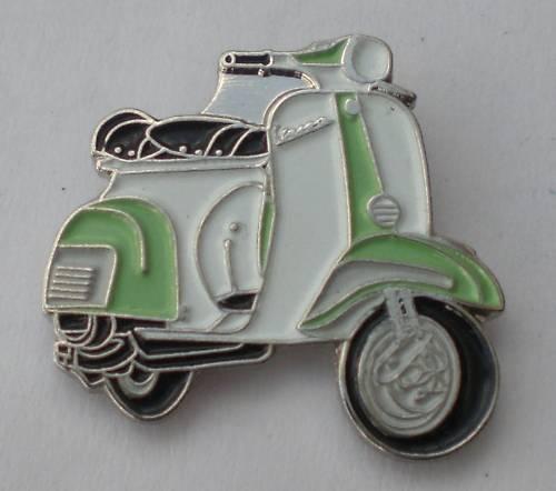 Pale Green /& White Vespa Scooter Mod Enamel Pin Badge