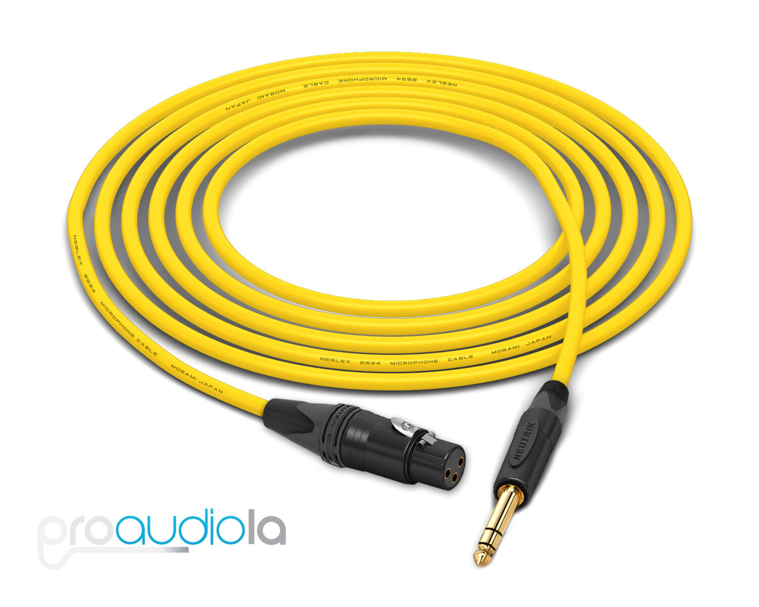 Mogami Quad 2534 Cable   Neutrik Gold XLR-F TRS   Gelb 150 Feet   150 Ft. 150'