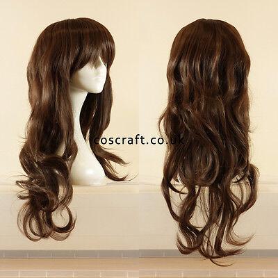 Long wavy curly cosplay wig with fringe matt dark brown UK SELLER, Charlie style