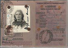 60968 - vintage document DOCUMENTO D'EPOCA: TESSERA POSTALE RICONOSCIMENTO 1964