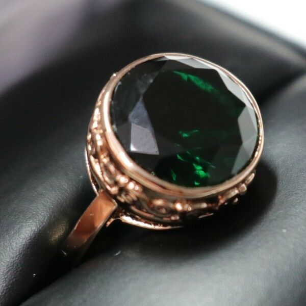 Gorgeous 5 Ct Green Emerald Round Ring Engagement Wedding Size 6.5 18K