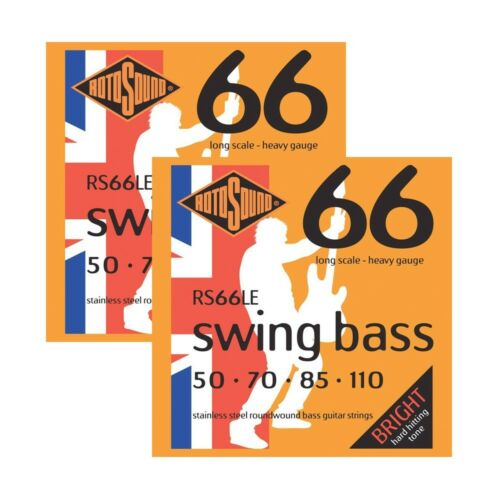 2-Pack of Rotosound RS66LE Swing 66 Stainless Steel Bass Guitar Strings 50-110