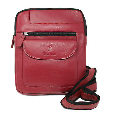 Starhide Mens Womens Real Leather Cross Body / Travel Messenger Ipad bag 505 Red