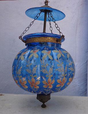 Vintage Blue Enamelled Gilt Work Bell Jar Glass Hall Lantern Chandelier Lamp