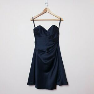 Alfred-Angelo-Size-4-Black-Strapless-Ruched-Layered-Satin-Wedding-Cocktail-Dress