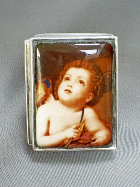 Adorabile 2001 Vintage Hm Argento Sterling Smalto Cupido A Cerniera Cherub Tabacchiera Prezzo Ragionevole