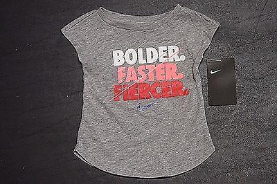 """Nike """"bolder Baby & Toddler Clothing Faster.fiercer.."""" Infant Girls T-shirt 16b964-042 Dark Gray 12m"""