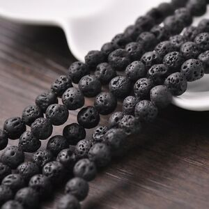 30pcs 8mm Black Lava Stone Natural GEMSTONE Round Loose Spacer Beads