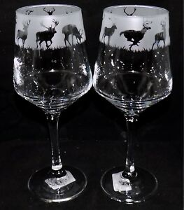 New-Etched-034-STAG-DEER-034-Wine-Glass-es-Free-Gift-Box-Large-390mls-Wine-Glass