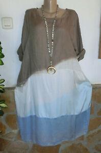 Italy Lagenlook Kleid Leinen Seide Visk Lassig Insein Taupe White Hellblau 46 50 Ebay