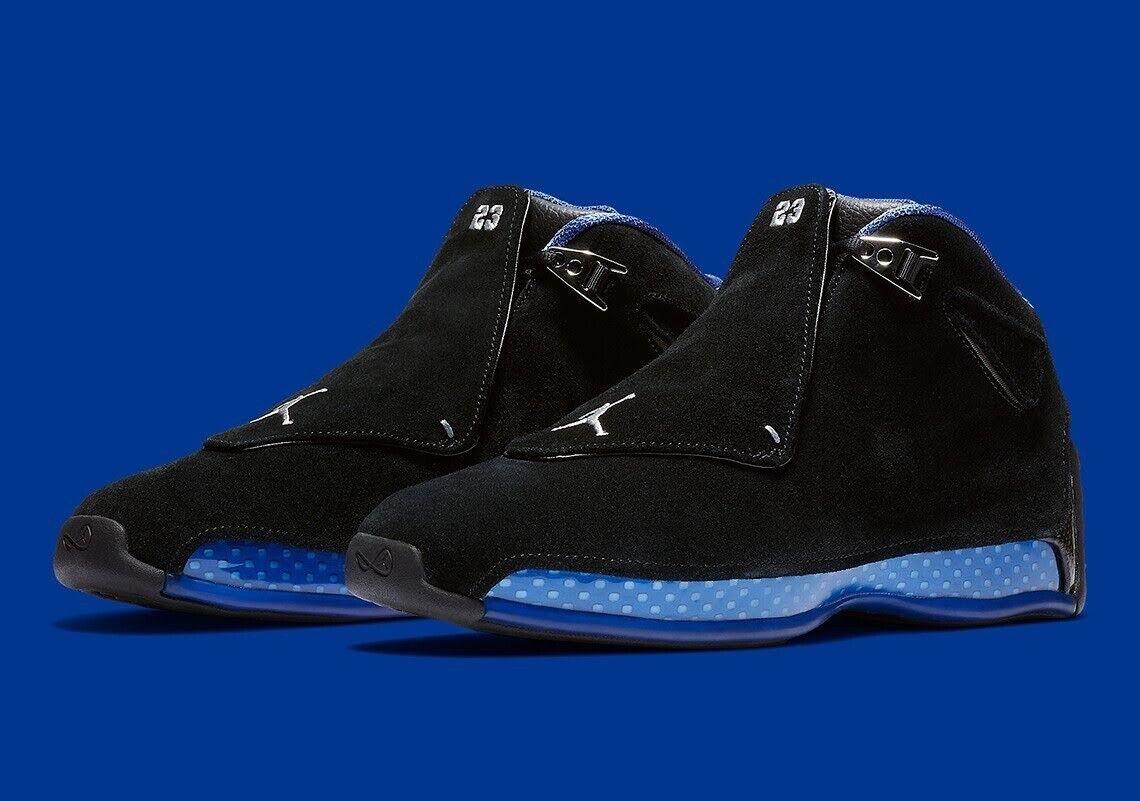 410e78913f6 Nike Air Jordan 18 Retro Black Sport Royal bluee Silver 9.5 AA2494 007 Bred  Off