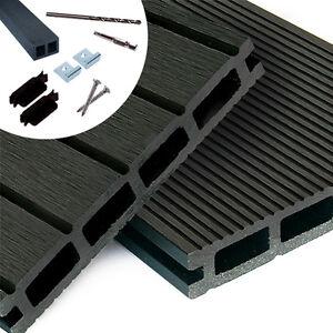 wpc terrassendielen komplettbausatz grau komplettset anthrazit holz diele 2 90 m ebay. Black Bedroom Furniture Sets. Home Design Ideas