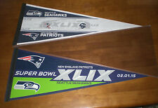 2 SUPERBOWL XLIX 2015 SEATTLE SEAHAWKS vs NEW ENGLAND PATRIOTS DUELING PENNANTS