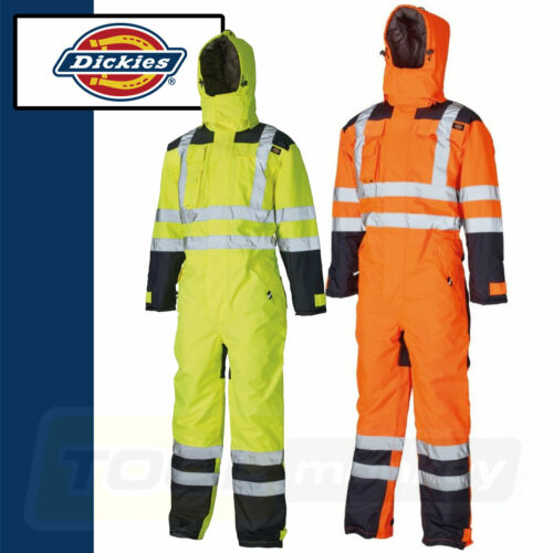 Lined Quilted SA7000 Dickies Waterproof Hi Vis Safety Coverall Yellow Orange
