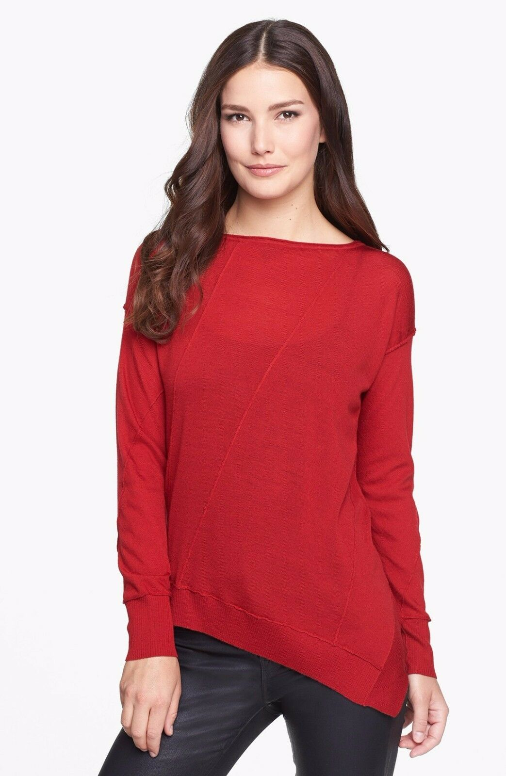 NWT Eileen Fisher Bateau Neck Sweater Top Merino Jersey Lacquer rot  – XS