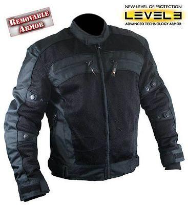 NWT Xelement Men's CF380 TriTex Mesh Black Level-3 Armored Motorcycle Jacket