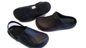 Full-Kitchen-Clogs-Black-Chefs-Shoes-Safety-Footwear-Garden-Slip-On-Cloggies-New