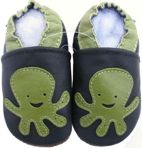 Carozoo Octopus 5-6y noir semelle souple CUIR enfant chaussures