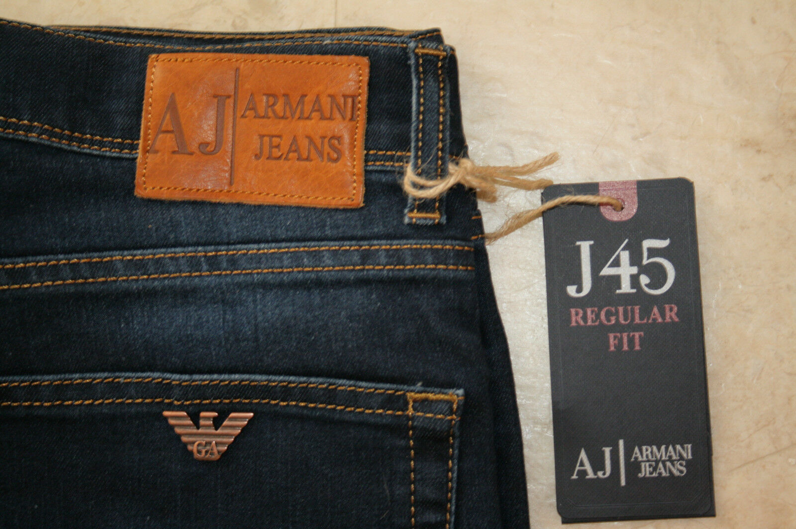 ARMANI J45 JEANS STONEWASH NAVY 30 WAIST 32 LEG