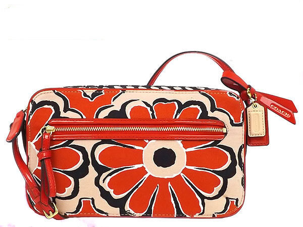 Coach poppy flower red orange floral crossbody flight bag purse coach poppy flower red orange floral crossbody flight bag purse 25121 b4bt9 ebay mightylinksfo
