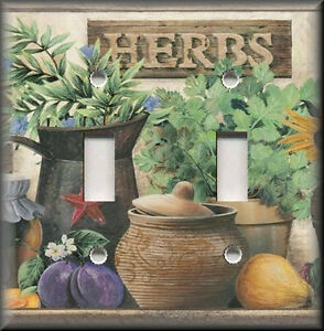 Metal Light Switch Plate Cover Country Kitchen Garden Herbs Kitchen Decor Herbs  eBay