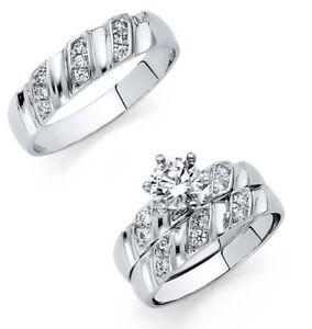 14K-White-Gold-Round-Cut-Simulated-Diamond-Trio-Wedding-Band-Bridal-Ring-Set