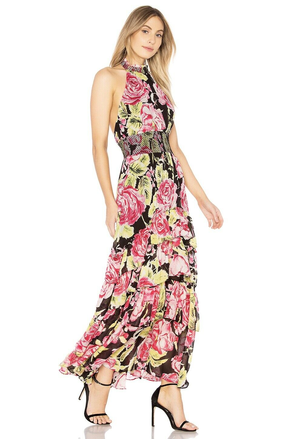 NWT FREE PEOPLE IN FULL BLOOM CASCADING FLORAL HALTER MAXI DRESS S SMALL   SFS