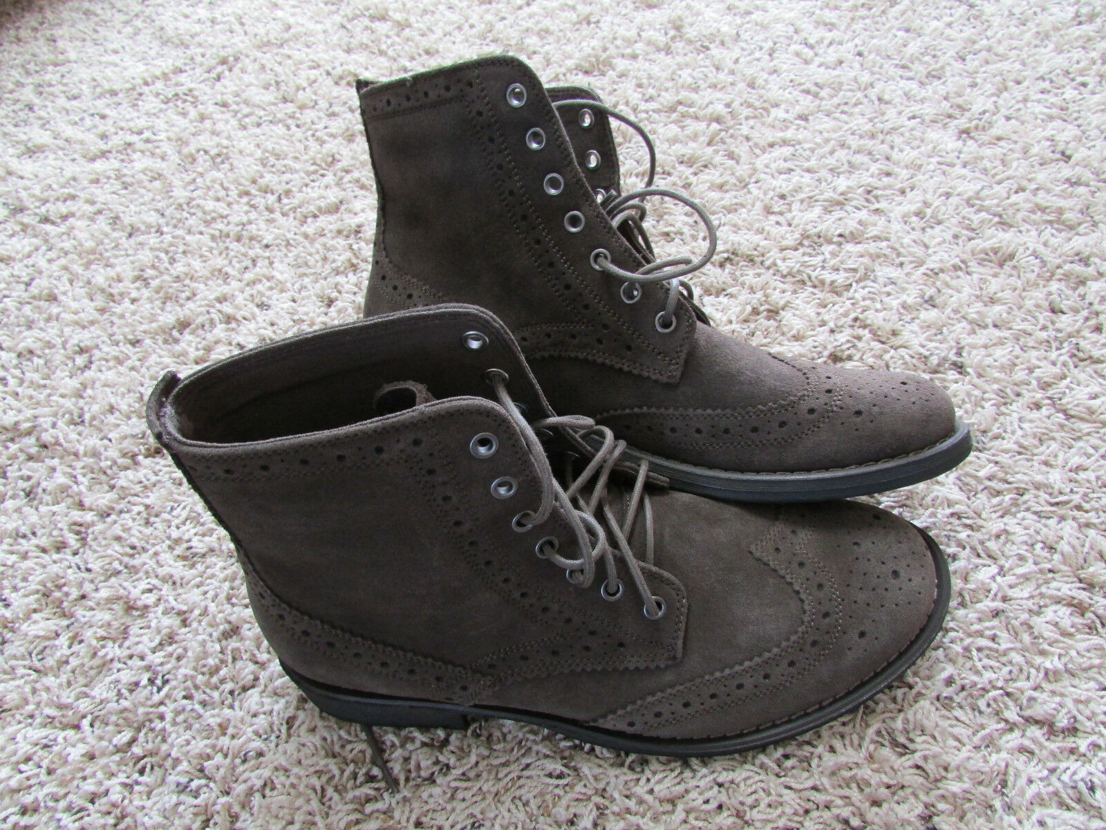 NEW AMERICAN EAGLE WINGTIP ANKLE BOOTS MENS 10 BROWN SUEDE LEATHER