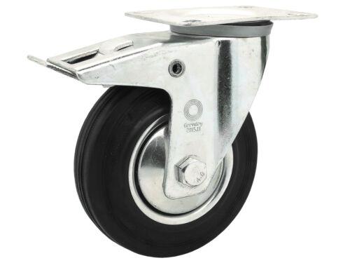 4 x Vollgummi Lenkrolle Transportrolle Schwerlastrolle Rolle Ø 125 mm Lenk-Brems