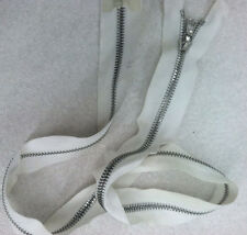 "Riri White Jacket Zipper With Metal  NickleTeeth Open Bottom  #5 M6 --14.5"" Inch"