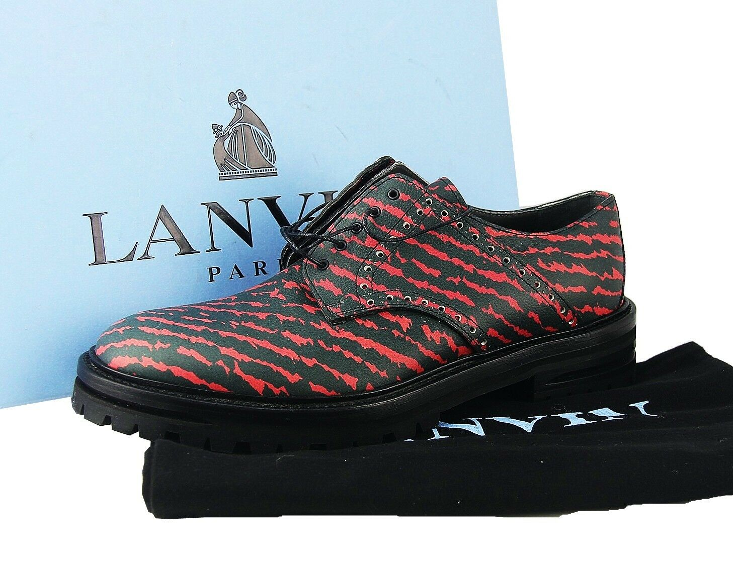 LANVIN BLACK & RED STRIPES 100% LEATHER SHOES THICK SOLE ITALY   30 NEW BOX SZ 7