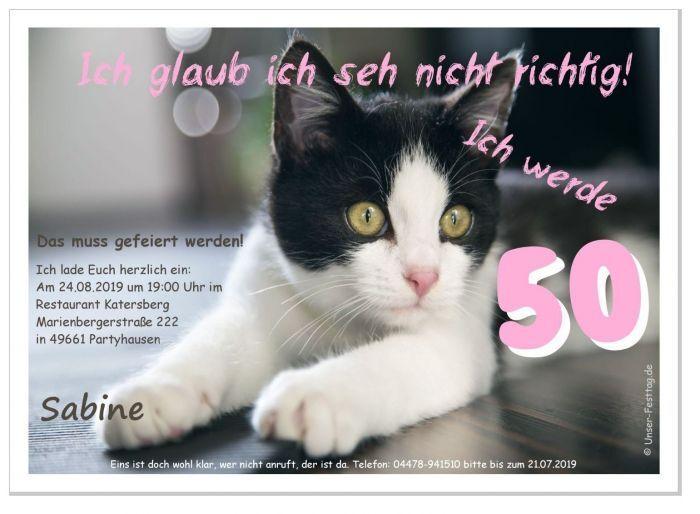 Geburtstagseinladungen lustig originell Text Katze Feier Party 40. 50. 60. 30 20